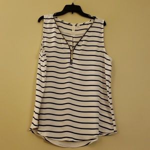 White & Black Striped Top with Gold Zipper